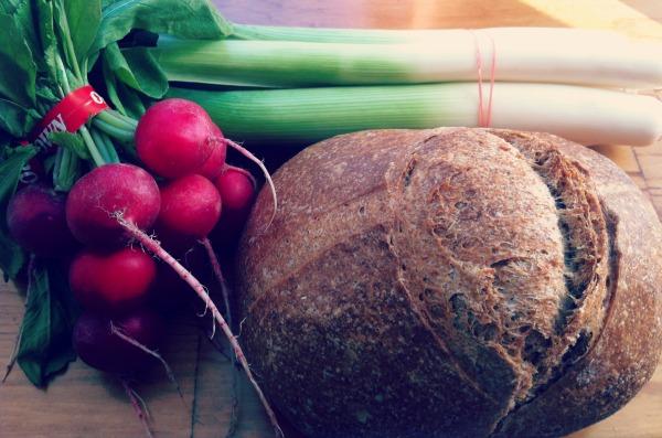 Peasant Wheat Bread, Radishes and Leeks