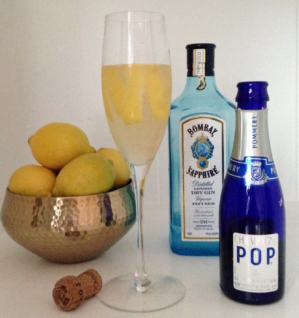 French 75 with lemons, gin and champagne