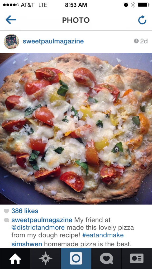 They were kind enough to share a picture of the pizza I made! (BTW, I just started an Instagram account for the blog. Follow me @districtandmore)
