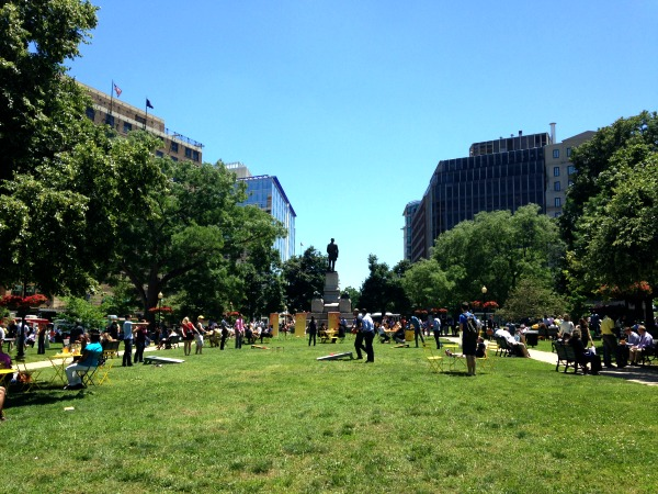 Taking a break from work at Farragut Square